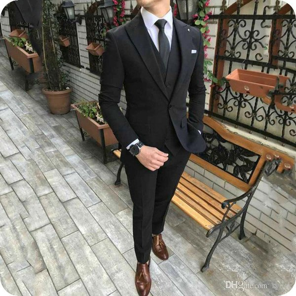 Latest Coat Pant Designs Black Groom Wedding Tuxedos Men Suits 3Piece Wide Peaked Lapel Slim Fit Bridegroom Blazers Costume Homme Ternos