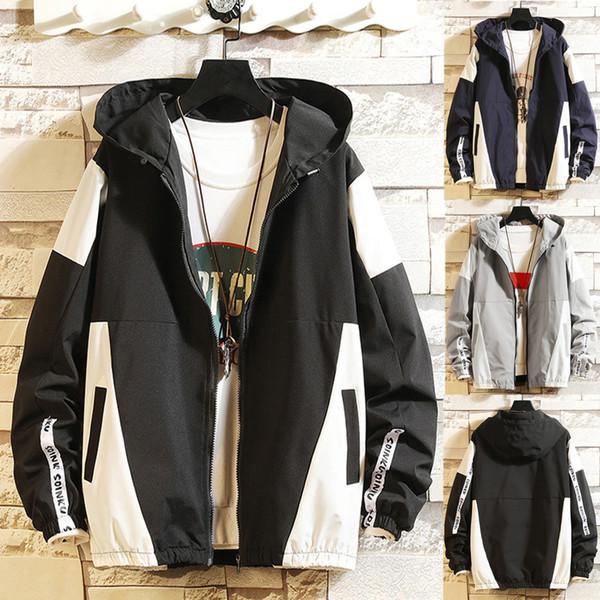 Dropshipping Men's Autumn Casual Fashion Color Collision Hoodie Thin Jacket Zipper Coat Casual Dress Women Korea style