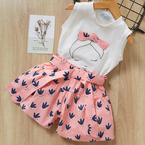 Girls Suit 2019 Summer New Children's Clothing Cartoon Print T-shirt + Short Paragraph 2 Sets of Girls Clothes Sleeveless