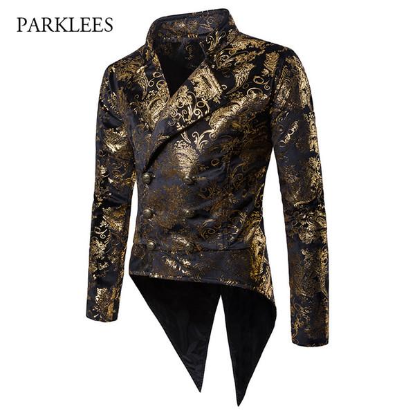 Lüks Altın Paisley Suit Blazer Erkekler 2018 Sonbahar Yeni Kruvaze Düğün Smokin Takım Elbise Ceket Sahne Şarkıcı Balo Kostüm Homme
