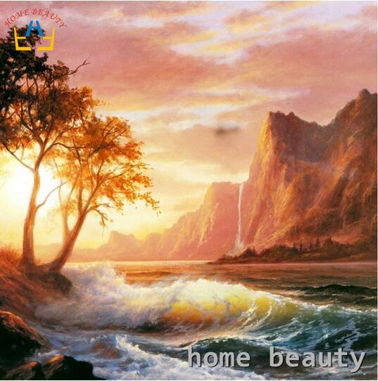 40x50cm oil painting by numbers sunset photography backgrounds sea waves Wall decor canvas paintings for living room modular coloring of pai