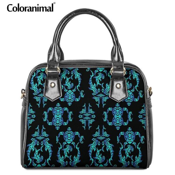 Coloranimal Hawaiian Sea Turtle 3D Pattern Leather Tote Bag Ethnic Tribal PU Shoulder Handbag for Women Purse Sac A main Wallets