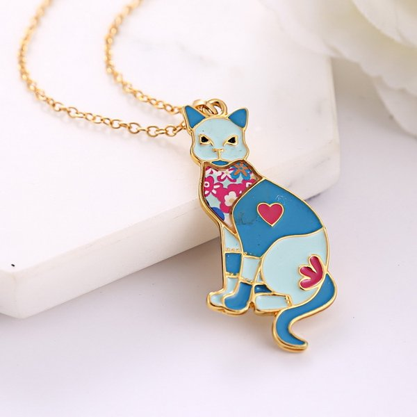 Maxi Alloy Enamel Pug Dog Butterfly Necklace Chain Pendant News Fashion Jewelry For Women Statement Charm Collar-P
