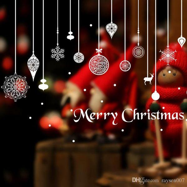 2017 a estrenar feliz año nuevo ciervo copo de nieve etiqueta de la pared extraíble escaparate de Navidad calcomanías de vinilo decoración de la ventana pegatinas decorativas para el hogar