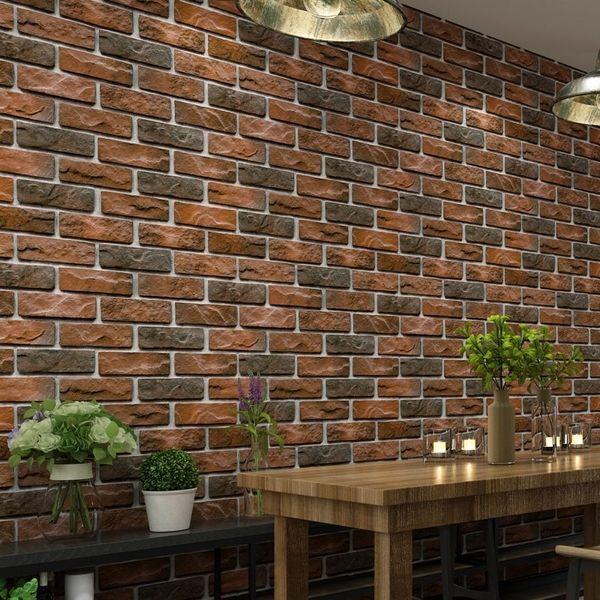 Waterproof Vintage 3d Brick Effect Wallpaper Roll Modern Rustic Realistic Faux Stone Texture Vinyl Pvc Wall Paper Home Decor Hd Wide Wallpaper Hd