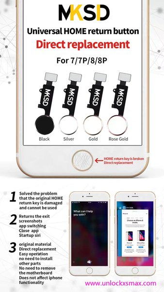 3HOURS HOT PROMOTE !!3rd universal multifunction key For iPhone 7 7 Plus 8 8 Plus home button with touch return shot 4 colors