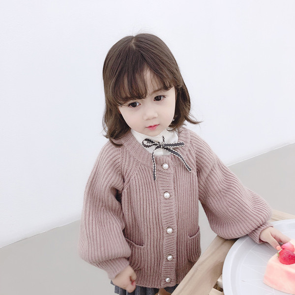 3 Colors New Design Baby Girl Sweater Children Knitted Lantern Sleeve Pearl Button Cardigan Sweater Kids Warm Fashion Outwear Outfits M465