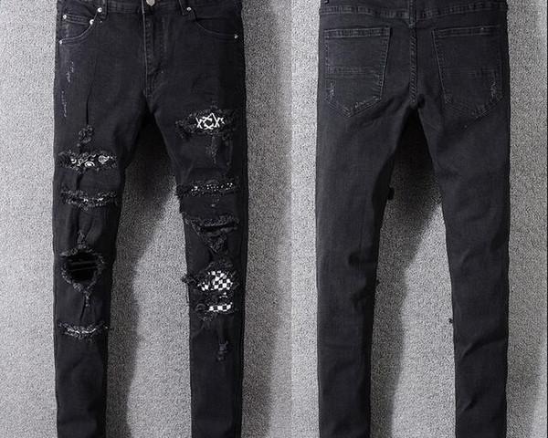 2018 skinny jeans for men ripped holes jeans Motorcycle Biker Denim pants Men Hip Hop Mens Jeans