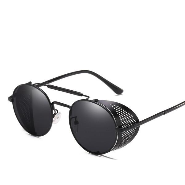 vente en gros rétro lunettes de soleil en métal steampunk hommes femmes marque designer lunettes oculos de sol nuances uv