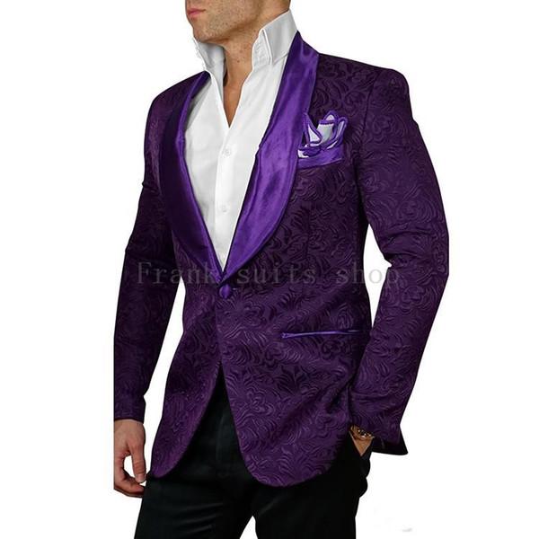 2018 Nouveaux hommes jacquard motif costumes sur mesure pourpre Slim fit marié marié smoking robe de mariée d'affaires (veste + pantalon) # 551096