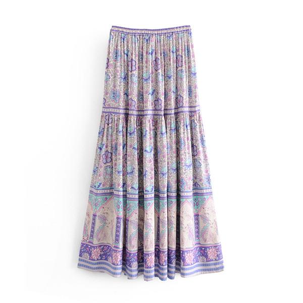 Лето Bohemian пляж юбка фиолетовый цветочный принт эластичный пояс привязали 2019 весной длинные плиссированные юбки BOHO женские новые faldas