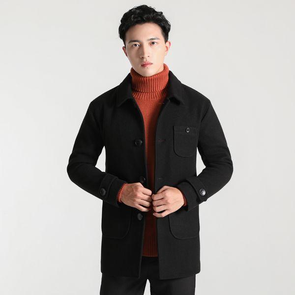 Black Gray Yellow 4XL Men Woolen Coats Warm Jackets Buttons Single Breasted Outwear Solid Overcoats Windbreakers For Man 8773