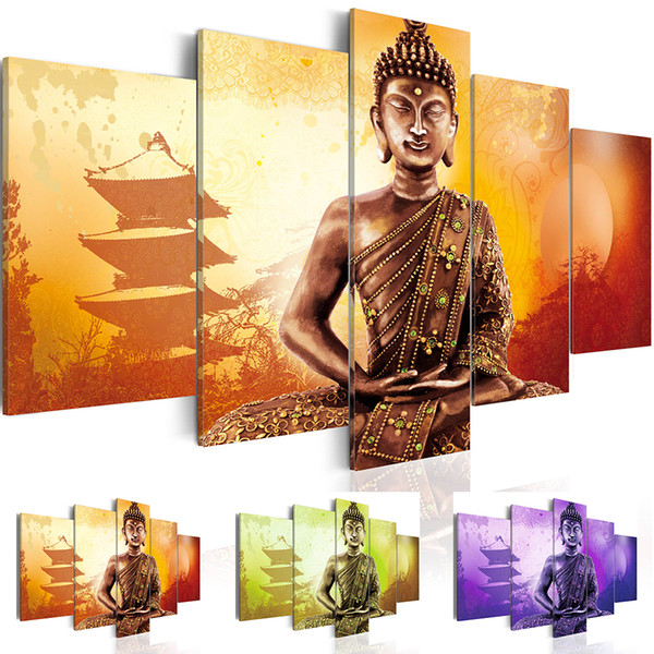 5 Panel Abstract Printed Buddha Painting Canvas Wall Art Home Decor Buddha Picture For Living Room Unframed