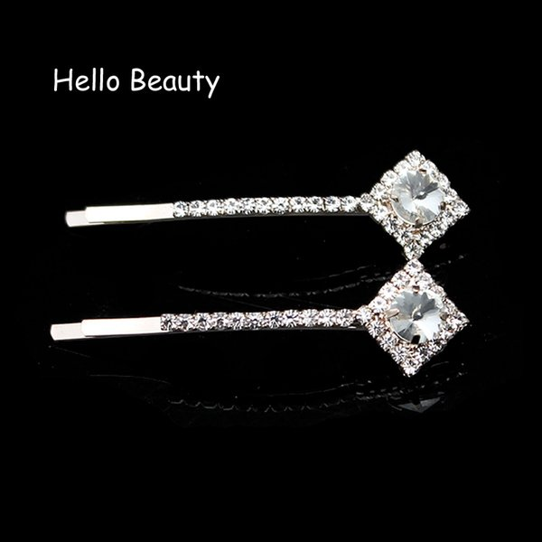 crystal clip 1 Pair Rhombus Luxury Silver Crystal Clips Clear Rhinestone Hairpin Hairclip Barrette For Ladies Women Hair Accessories