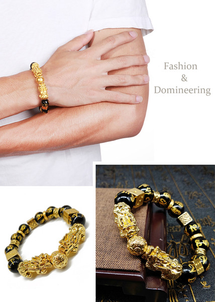 02 Gold Color Pixiu Brave Troops Stone Beads Bangles & Bracelets Fashion Jewelry Lucky Energy Bracelet For Men Gift