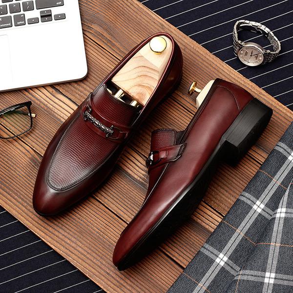 Men genuine leather brogue shoes business dress banquet suit shoes men brand Bullock wedding oxford for 2019 black