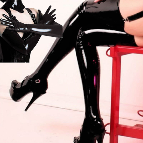 Mulheres Sexy Lingerie Wetlook Traje Coxa Alta Meias Luvas PVC Clubwear # R45
