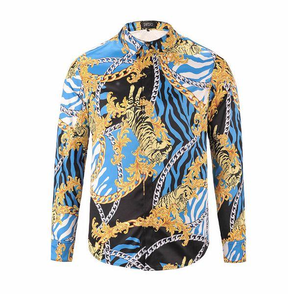 Marka Gömlek Tasarımcı Erkekler Çiçek Baskı Renk Karışımı Lüks Rahat Harajuku Gömlek Uzun Kollu Medusa Moda Gömlek M-2XL