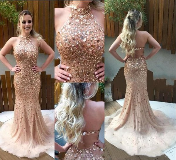 Luxurious Rhinestones Mermaid Prom Dresses Halter Neckline Crystal Beaded Arabic Formal Evening Gowns Sexy Open Back Trumpet Pageant Dress