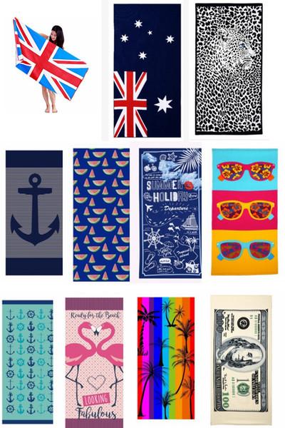 38 стили США хлопок Великобритания Канада Америка флаг доллар абсорбент ванна пляжное полотенце животных письма супер мягкие дети дети банное полотенце плавать душ