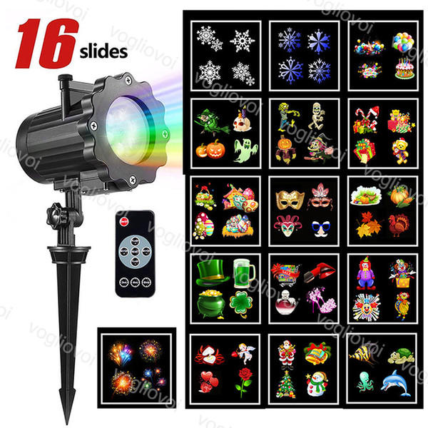 Christmas Projector Lights 16 Pattern Replaceable Rotating Laser Projector Lamp Landscape Light for Outdoor Garden Christmas Halloween DHL