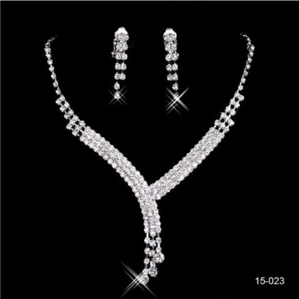 Hot Sale In Stock Cheap Shinning Rhinestone Wedding Party Earring Bracelet Necklace Ring Jewel Set For Women Prom Evening Free Ship 15023 Wedding