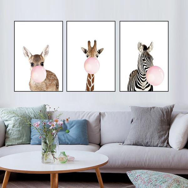 ome Decoração Pintura Caligrafia áfrica selva Animal Girafa Zebra com bolhas Pôsteres Pintura em Tela Retrato da parede para quarto de ...