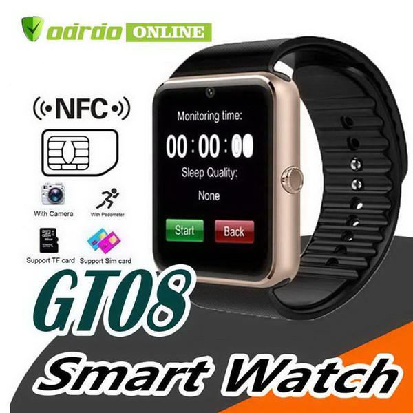GT08 Smartwatch con slot per schede SIM Android Smart Watch per Samsung e IOS Apple iPhone Smartphone Bracciale Orologi Bluetooth