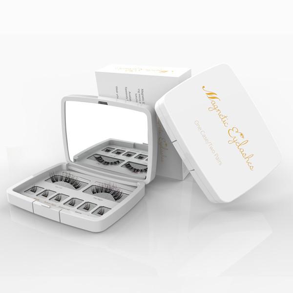 8pcs 3D Magnetic Eyelashes Mink Lash Full Strip Lashes False Eyelash With Tweezers Double Magnet Fake Lash SCT-W-602