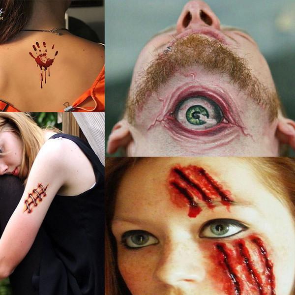 Erkekler Kadınlar 3d Gerçeklik Vampir Kan Scar Dövme Sticker için 1/6/30 PCS Cadılar Bayramı su geçirmez Geçici Dövme