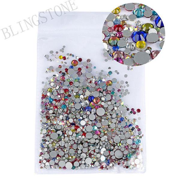 Mix Sizes 1000PCS/Pack Crystal Clear AB Non Hotfix Flatback Rhinestones Nail Rhinestones For Nails 3D Nail Art Decorations Gems C19011401