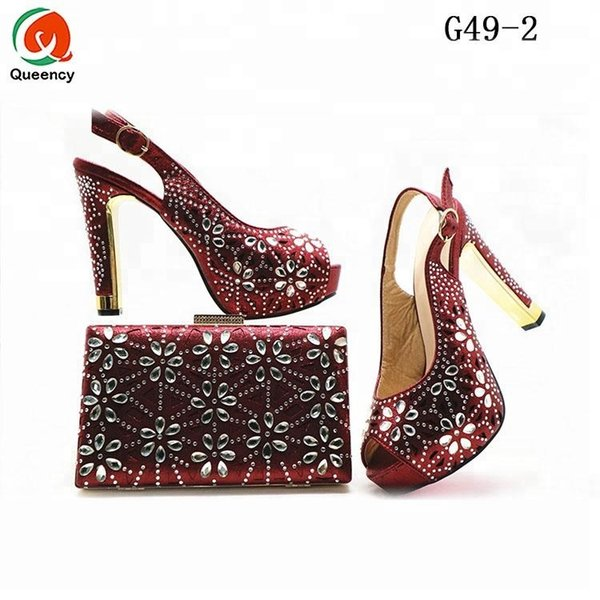 Dgrain High Quality Fashion Wholesale Crystal Italian Shoes With Matching Bags For Party Wedding Shoes And Matching Clutch Bag