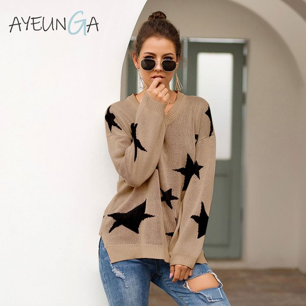 Autumn Knitted Women's Sweater Stars Print Warm Oversized Sweater Long Sleeve V Neck Female Pullover