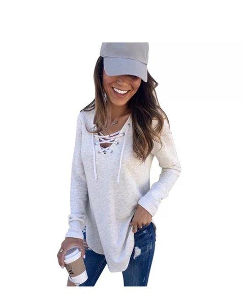 2019 camiseta de mujer primavera nuevo color sólido tether top suelto Moda con cuello en v sexy lady top de manga larga