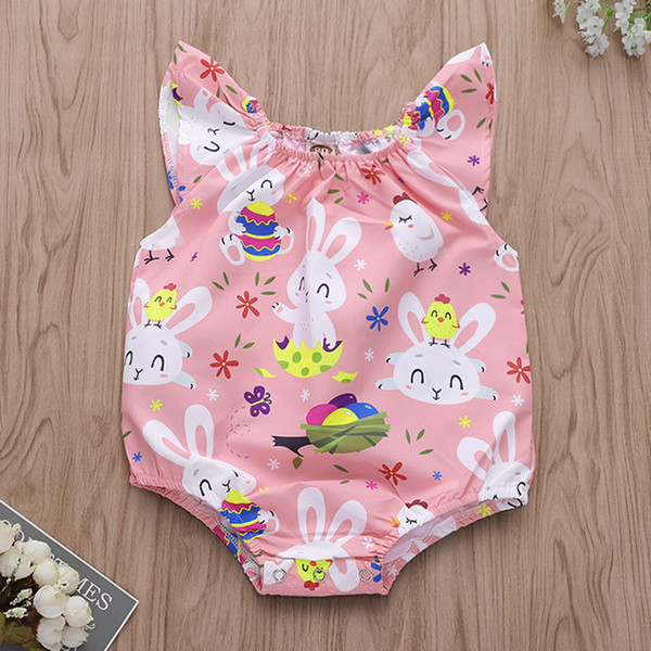 Easter Bunny Print Ruffle Sleeves Rompers 2019 Kies Boutique Clothing Infant Toddlers Baby Girls Sleeveless Rabbit Egg Onesie Rompers