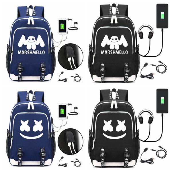 DJ marshmello mochila escolar usb mochila portátil para niñas niños adolescentes fresco mochila niños bolso FFA1708