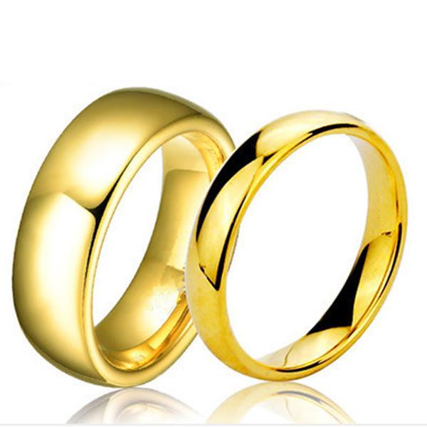 Moda 100% anéis de carboneto de tungstênio 4 MM / 6 MM de largura da Cor de Ouro-anéis de casamento para mulheres e homens jóias