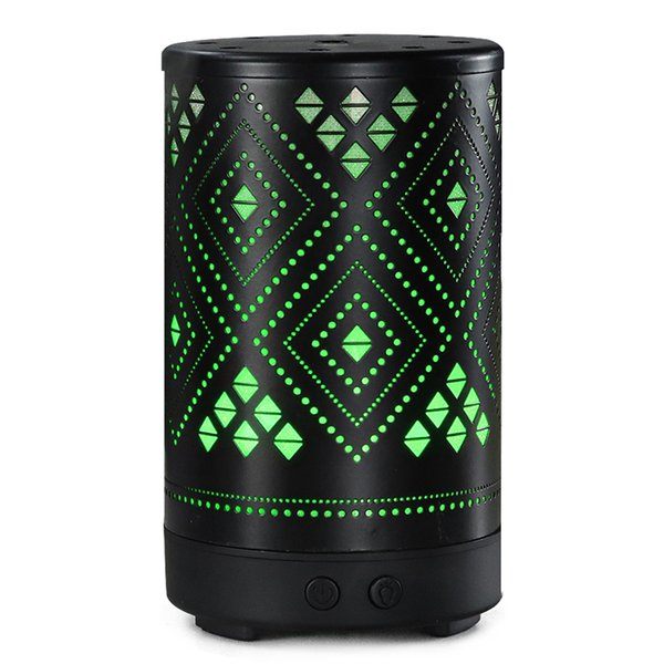 Ultrasonic Cool Mist Aroma Diffuser 100ml Capacity Metal Essential Oil Humidifier With 7 Colors Changed LED Lights,Waterless Protection
