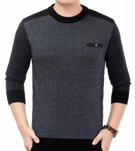 Деловые мужские нежные свитера Отцы зима осень свитера дна O-образным вырезом с длинным рукавом вязаные шерстяные кофты