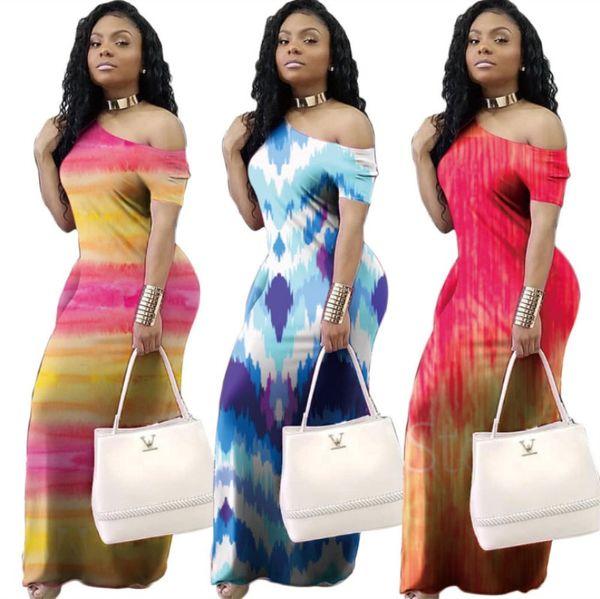 Yaz elbiseler one piece set kadınlar tasarımcı elbiseler maxi artı uzun elbise kısa kollu elbise moda baskı rahat elbiseler klw1272