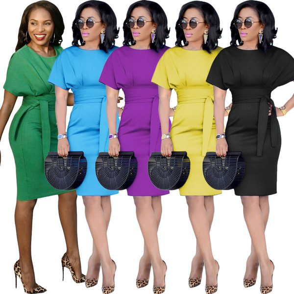 Printemps Mode Robe Slim Business OL Jupe Sexy Robe Colorée Avec Taille Cravate À Manches Courtes Doux Vêtements Casual, Plus La Taille S-3XL HTS222