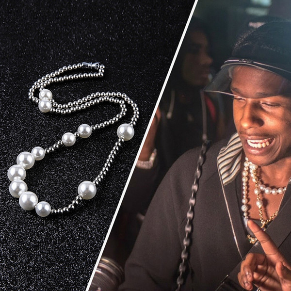 top popular Fashion Mens Pearl Necklace Hip Hop Stainless Steel Ball Beaded Jewelry Clavicle Chain Necklaces 2021