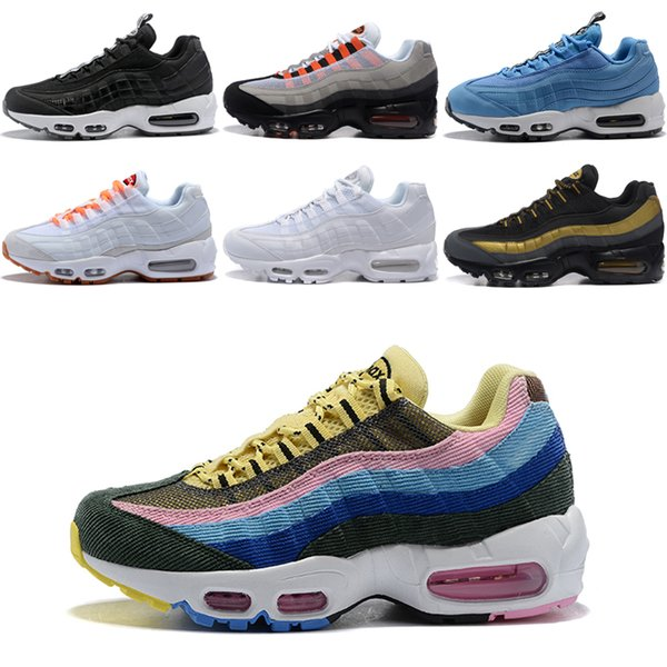 Acheter Nike Air Max 95 Chaussures Ria Mode Coussin Runner Pour Les Hommes De Sport Femmes Noir Blanc Baskets Mode Chaussures De Marche Athlétique AS