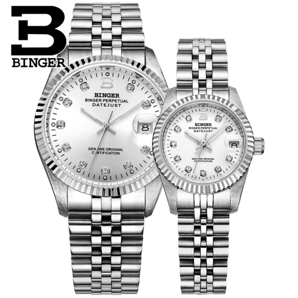 Suíça binger relógio dos homens das mulheres mecânicos automáticos relógios de pulso safira reloj hombre amantes 'relógio de pulso