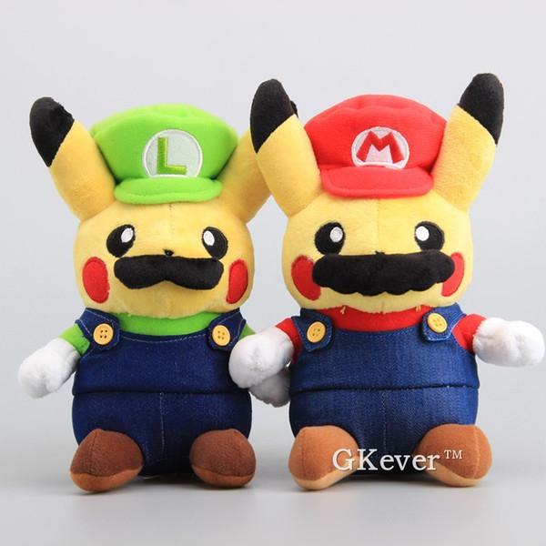 Anime 2 Pçs / set Super Mario Bros Mario Luigi Pikachu Macio Bonecas Pikachu Cosplay Mario Brinquedos de Pelúcia 9