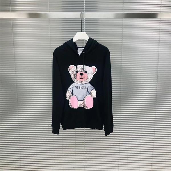 19FW женщины дизайнер Роскошные Зима Европа Италия Полотенце Вышитые Сломанный Медведь Толстовки Мода Мужская Одежда Толстовка С Капюшоном Женщины Толстовка