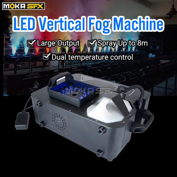 top popular 24*1w RGB LED Fog Machine DMX Spraying Vertical Smoke Machine 1500w Stage Effect Fogger Machine For Party Club Halloween Decorations 2021