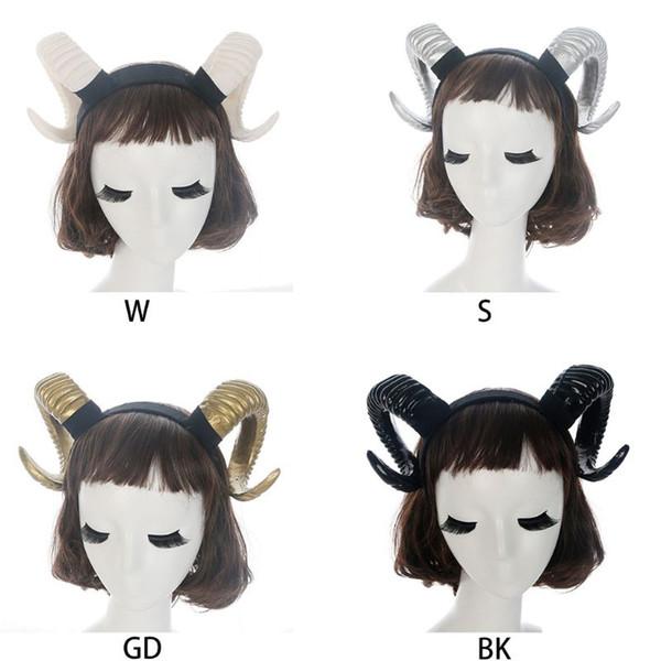 Gotik Cadılar Bayramı Kadınlar Kız Kafa Koyun Boynuz Orman Hayvan Cosplay Kostüm Saç Hoop Demon Evil Plastik Parti Fotoğraf Sahne