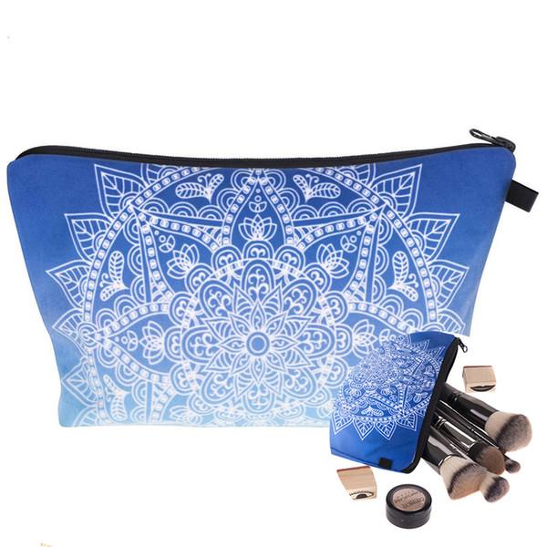 Designer Cosmetic Bags Mandala Printing Makeup Pen Bag Women Travel Cosmetic Bags Zipper Waterproof Clutch Bags