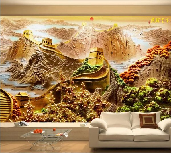 Custom 3D Photo Wallpaper Mural Hand Painted Wanli Xiongfeng Relief Great Wall Li Wall Mural Living Room Home Decor Painting Wall Paper